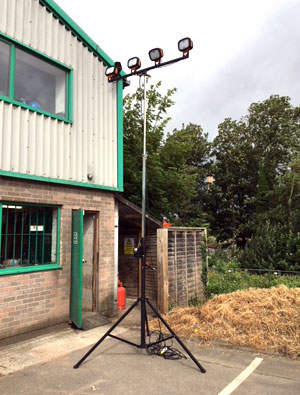 Four Head LED 4.2m Mast Floodlight Extended to Maximum Height