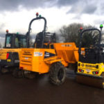 Excavator, dumper and roller showing the green flashing beacons