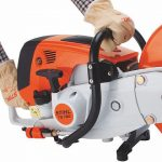 Photo of the Stihl TS410 Disc Cutter showing the ergonomic grip position
