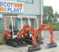 Two Kubota KX36 mini excavators