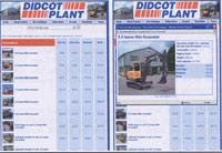 Screenshots of online hire catalogue
