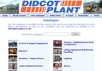 Didcot Plant Hire Catalogue search screen