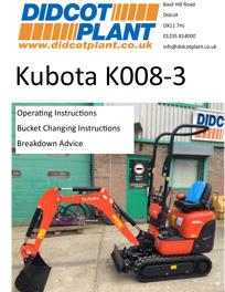 Kubota K008 Excavator Operating Instructions