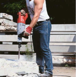 Milwaukee 900K Breaker in use in a building site