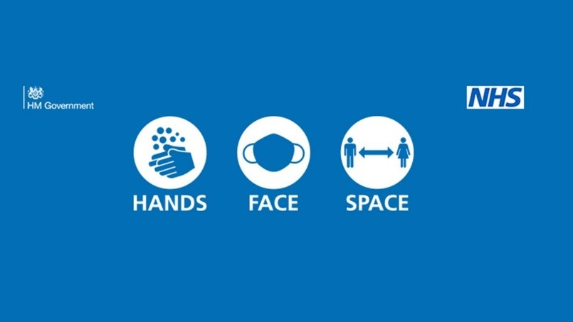 Government and NHS Hands Face Space Covid-19 sign