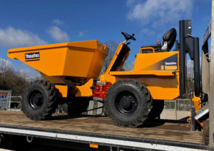New Thwaites 3.0t Power Swivel dumper still on the trailer as it arrives at Didcot Plant