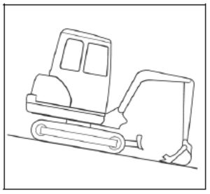 Figure showing an excavator driving down hill with its bucket sliding over the terrain