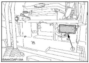 Position of the fuse box, below the operator's seat