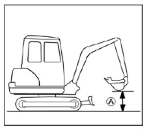Figure showing the height of the bucket when driving