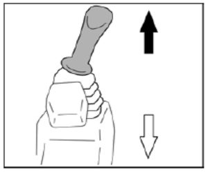 Figure showing the left control lever which is used to operate the arm