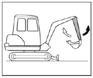 The movement of the arm of the excavator