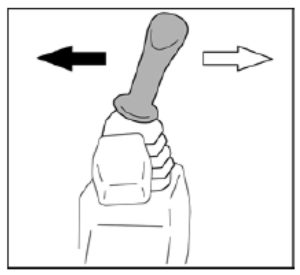 Figure showing the movement of the left control lever to operate the swivel frame