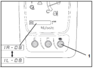 Figure showing the display selector switch being pressed until the flow rate setting changes to left AUX port