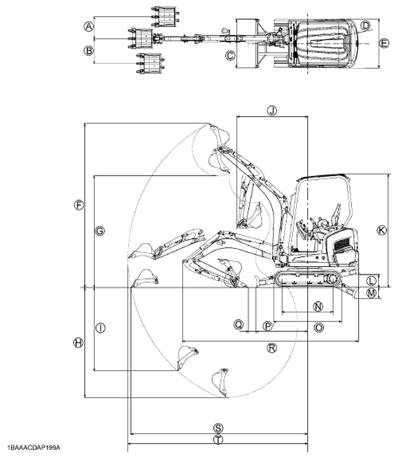 Figure showing the dimensions of the Kubota KX015-4 Mini Excavator