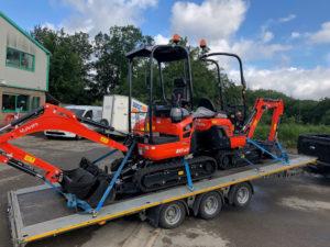 Two of the three new Kubota mini excavators arrive at Didcot Plant