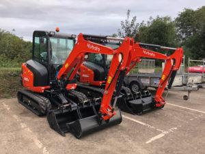 Two new Kubota KX030 mini excavators at Didcot Plant